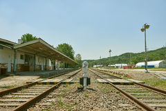 Geschlossene Bahnstation, alte Bahnstation in Korea Lizenzfreies Stockfoto
