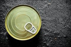 Geschlossene Blechdose mit Konserven stockbild