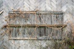 Geschlossene Fensterblendenverschlüsse Stockfoto