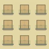 Geschlossene Türen mit Balkon-Weinlese-Art Stockbilder