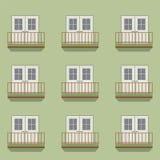 Geschlossene Türen mit Balkon-Weinlese-Art Stockfoto