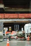 Geschlossene ungesicherte Baustelle Seattle Wa Stockbilder