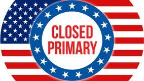 Geschlossene Vorwahlen auf einem USA-Hintergrund, Wiedergabe 3D Staaten von Amerika fahnenschwenkend im Wind Abstimmung, Freiheit stock abbildung