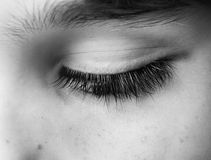Geschlossener Abschluss des menschlichen Auges herauf Atelieraufnahme stockfoto