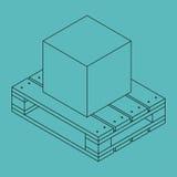 Geschlossener Kasten auf hölzerner Palette lizenzfreies stockbild