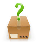 Geschlossener Kasten mit Fragezeichen Stockfotos