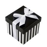 Geschlossener Kasten mit Schwarzweiss-Streifen Stockfotos