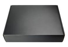 Geschlossener leerer schwarzer Kartonkasten auf Weiß Lizenzfreies Stockbild
