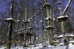 Geschlossener Schnee bedeckte Felsspitze Stockfotos