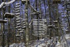Geschlossener Schnee bedeckte Leiter einer Dschungel-Turnhalle Lizenzfreie Stockfotos