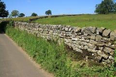 Geschlossener Zaun und eine große alte Steinwand im Sommer Stockbilder