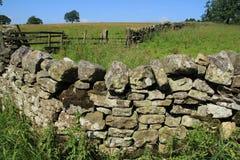 Geschlossener Zaun und eine große alte Steinwand im Sommer Lizenzfreie Stockfotos