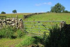 Geschlossener Zaun und eine große alte Steinwand im Sommer Stockfotografie