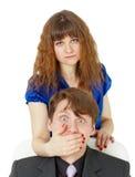 Geschlossener zu bemannen Mund der Frau Stockfotos