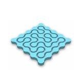 Geschlossenes Labyrinth 3D Blaues abstraktes Labyrinth mit fallengelassenem Schatten auf weißem Hintergrund Firmenkundengeschäftf Stock Abbildung