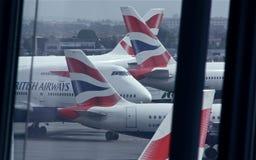 Geschlossenes Londons Heathrow wegen der vulkanischen Eruption Lizenzfreie Stockfotos