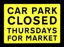 Geschlossenes Marktzeichen des Parkplatzes Stockfotografie