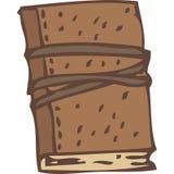 Geschlossenes Notizbuch oder Buch mit Brown-Leder-Abdeckung und Gummiband Lizenzfreie Stockbilder