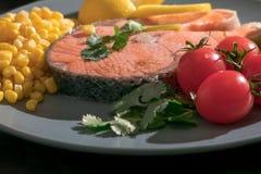 Geschlossenes-oben gegrilltes Fischlachsfilet mit Frischgemüse-, Lebensmittel- und Gemüsekonzept Stockbilder