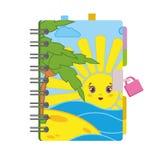 Geschlossenes persönliches Tagebuch mit einem Verschluss und ein helles Bild auf der Abdeckung Einfache flache Vektorillustration Lizenzfreie Abbildung
