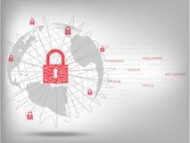 Geschlossenes Vorhängeschloß schützen Weltglobales netzwerk lizenzfreie abbildung