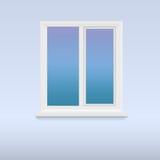 Geschlossenes, weißes Plastikfenster Stockbilder