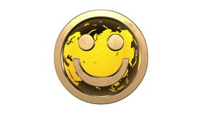 Geschlungene Animation: goldener Emoticon Gesicht des Lächelns 3d gegen die spinnende gelb-orangee Erdekugel übertragen auf weiße stock video