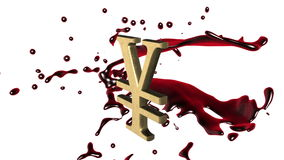 Geschlungener lebhafter Hintergrund: RotScharlachrot Spritzen des Bluts 3d drehen sich um das Symbol des goldenen YenYuan auf dem stock footage