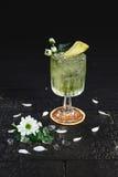 Geschmücktes Cocktail auf schwarzem Hintergrund Lizenzfreie Stockfotos