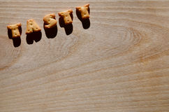 geschmackvoll Essbare Buchstaben lizenzfreies stockfoto