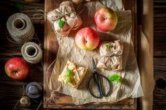 Geschmackvoll nehmen Sie den Apfelkuchen weg, der von den frischen Früchten gemacht wird Lizenzfreies Stockbild
