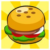Geschmackvolle Burgerillustration auf gelbem Hintergrund vektor abbildung