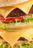 Geschmackvolle doppelte Cheeseburgernahaufnahme Lizenzfreie Stockfotos