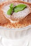 Geschmackvolle Eiscreme mit frischem Blatt der Minze Stockfotografie