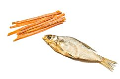 Geschmackvolle Fischstreifen und -Stockfisch stockbild