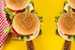 Geschmackvolle frische ungesunde Hamburger mit Ketschup und Gemüse an Lizenzfreie Stockfotografie