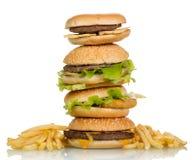 Geschmackvolle Hamburgersandwiche Stockfotos