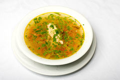 Geschmackvolle heiße Suppe auf weißer Platte Lizenzfreie Stockfotografie