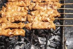 Geschmackvolle Holzkohle grillte die Schweinefleischaufsteckspindelnstöcke, die auf dem bbq GR zischen lizenzfreie stockfotos