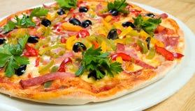 Geschmackvolle italienische Pizza flacher DOF Stockfotografie