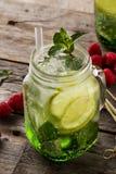 Geschmackvolle kalte frische Getränklimonade mit Zitrone, Minze, Himbeere, Eis Stockbild