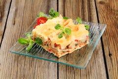 Geschmackvolle Lasagne Stockfoto