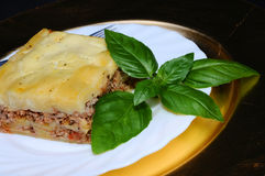 Geschmackvolle Lasagne mit Basilikumblatt stockfoto
