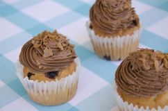 Geschmackvolle Muffins mit der Schokoladencreme verziert mit Zuckersüßigkeiten in einer blauen karierten Tischdecke Lizenzfreies Stockbild