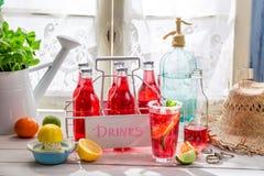 Geschmackvolle rote Orangeade in der Flasche mit tadellosem Blatt lizenzfreies stockbild