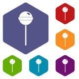 Geschmackvolle Süßigkeitsikonen stellten Hexagon ein stock abbildung
