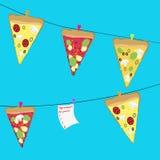 Geschmackvolle Scheiben des Pizzahintergrundes Lizenzfreie Stockfotos