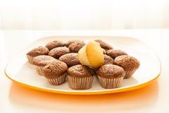 Geschmackvolle Schokoladenmuffins mit einem Kuchenmuffin auf die Oberseite Stockbilder