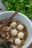 Geschmackvolle Schweinefleischnudeln Thailand Lizenzfreies Stockbild