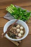 Geschmackvolle Schweinefleischnudeln Thailand Stockbild